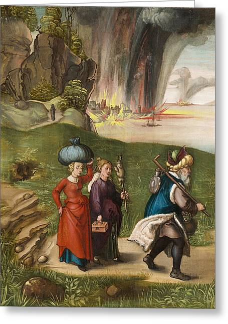 Lot And His Daughters Greeting Card by Albrecht Durer