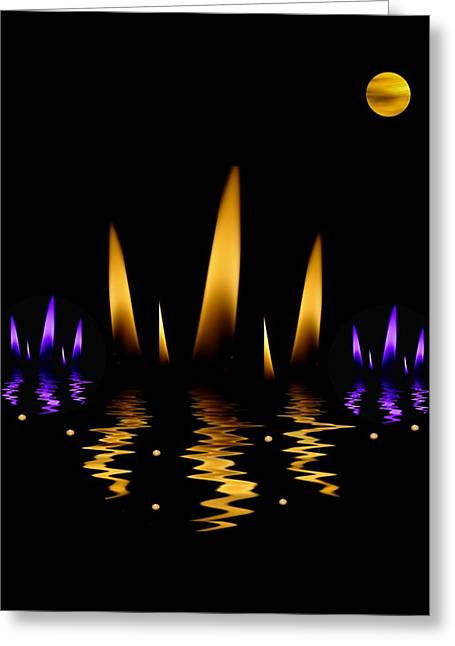 Lotus On Fire In The Dark Night Greeting Card by Pepita Selles