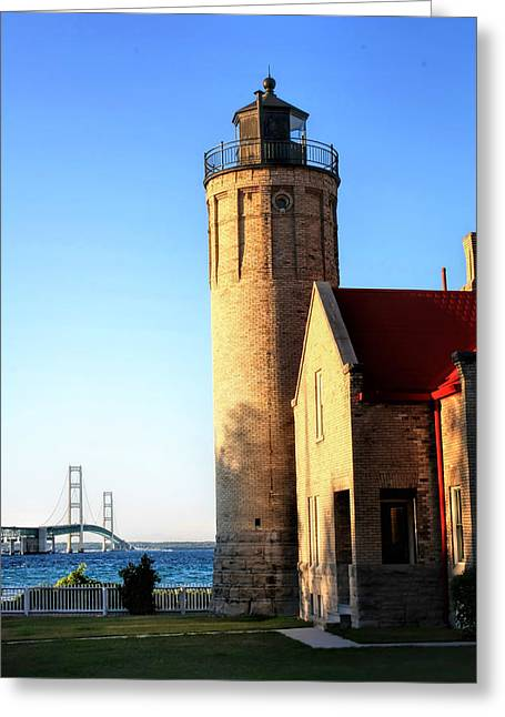 Mackinac Old Lighthouse. Greeting Card by Pat Cook