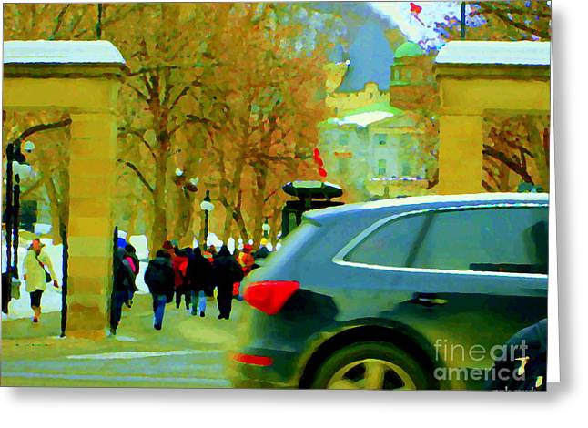 Mcgill University Students Carpool To Roddick Gates  Montreal Winter Scenes Carole Spandau  Greeting Card by Carole Spandau