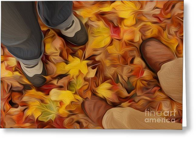 Meeting In Autumnal Park Greeting Card by Igor Kislev