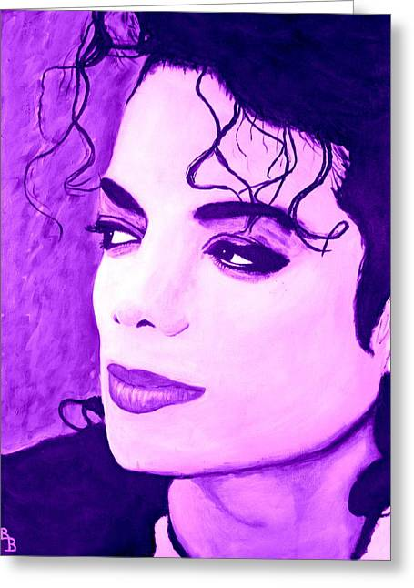 Greeting Card featuring the painting  Michael Jackson In Purple by Bob Baker