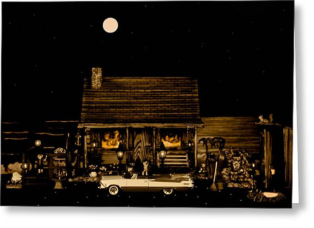 Miniature Log Cabin Scene With The Classic Old Vintage 1959 Dodge Royal Convertible In Sepia Color Greeting Card by Leslie Crotty
