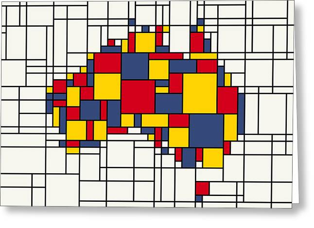Mondrian Inspired Australia Map Greeting Card by Michael Tompsett