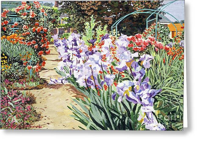 Monet's Garden Walk Greeting Card by David Lloyd Glover
