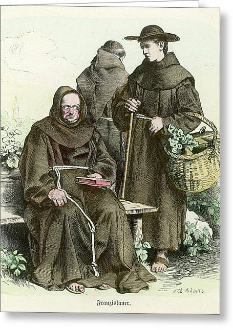 Monks Of The Order Of  Saint Francis Greeting Card by Mary Evans Picture Library