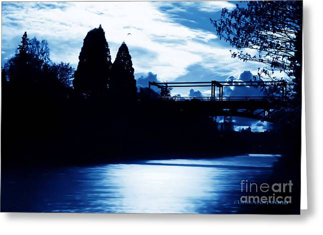 Greeting Card featuring the photograph  Montlake Bridge In Seattle Washington At Dusk by Eddie Eastwood