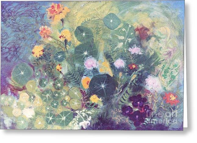Nasturtiums And Marigolds Greeting Card by Trudy Brodkin Storace