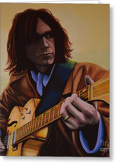 Neil Young Painting Greeting Card by Paul Meijering
