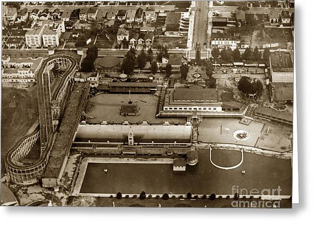 Neptune Beach Olympic Size Swimming Pool And A Roller Coaster Alameda Circa 1920 Greeting Card