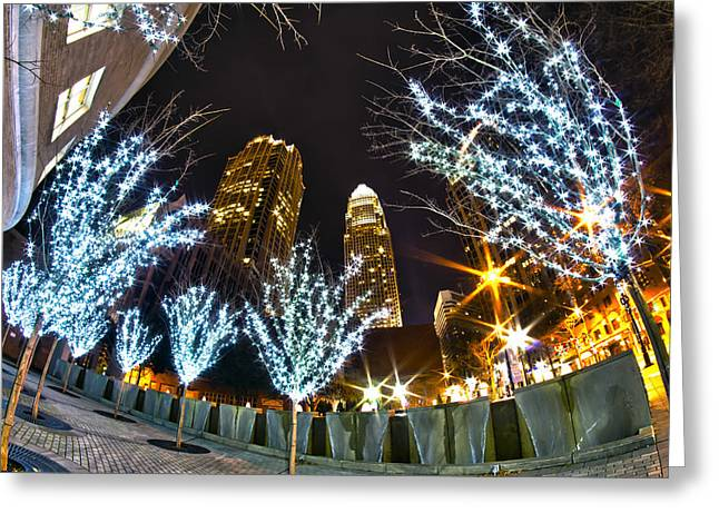 Nightlife Around Charlotte At Christmas Greeting Card