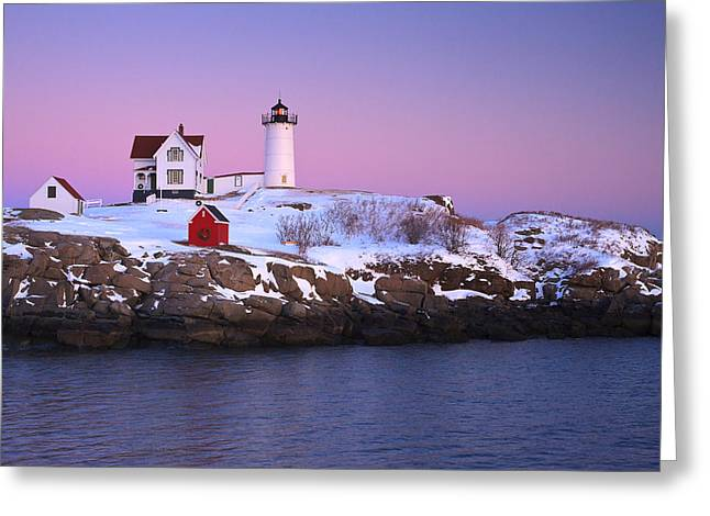 Nubble Light Under A Pastel Winter Sky Greeting Card
