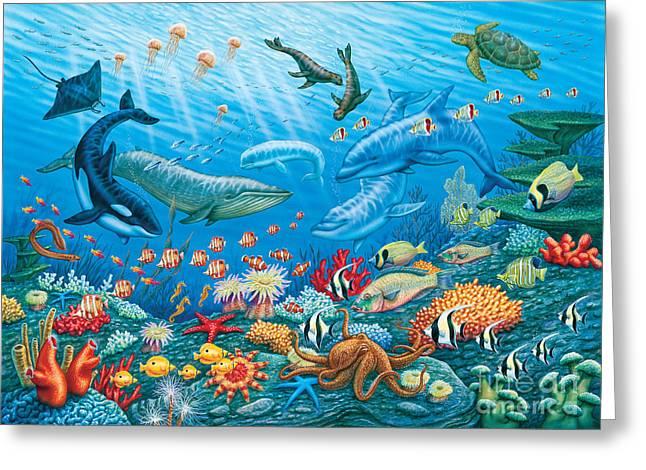 Ocean Life Greeting Card by Phil Wilson
