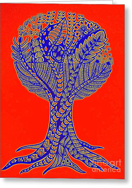 Orange And Blue Abstract Tree Art Greeting Card
