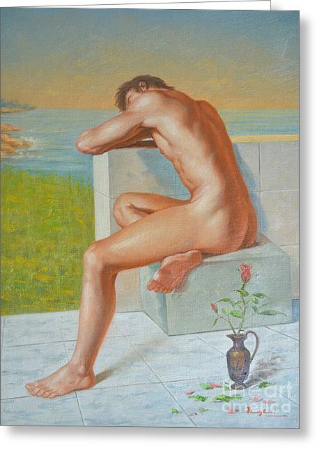 Original Classic Oil Painting Man Body Art  Male Nude And Vase #16-2-4-09 Greeting Card
