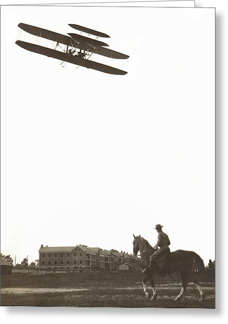 Orville Wright Soars Over Fort Meyer  C. 1909 Greeting Card by Daniel Hagerman