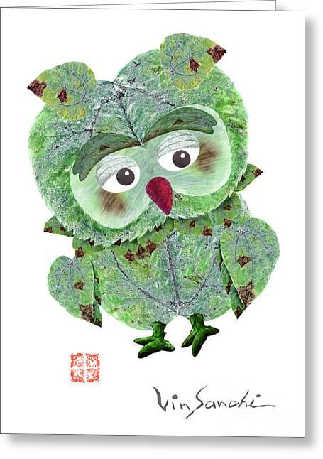 Owl Leaf 2 Summer Greeting Card by Vin Kitayama