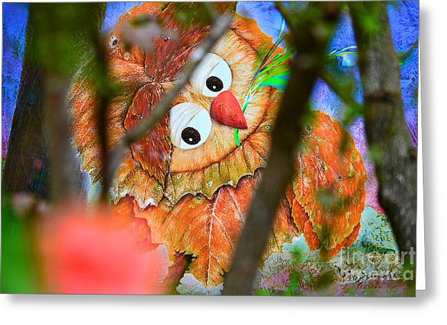 Owl Leaf Forest Greeting Card by Vin Kitayama