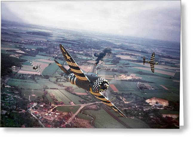 P47- D-day Train Busters Greeting Card by Pat Speirs