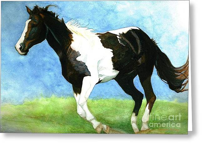 Painted Horse Greeting Card by Janine Riley