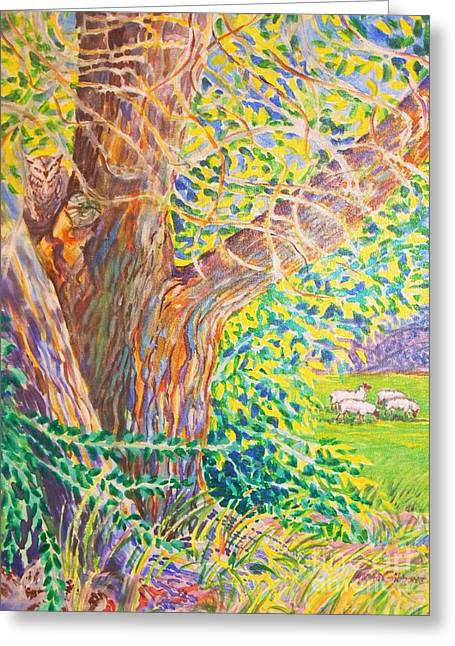 Painting Of Owl In Tree II Greeting Card by Annie Gibbons