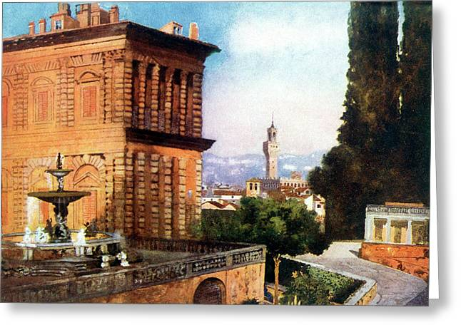 Palazzo Pitti  And Boboli Gardens Greeting Card by Mary Evans Picture Library