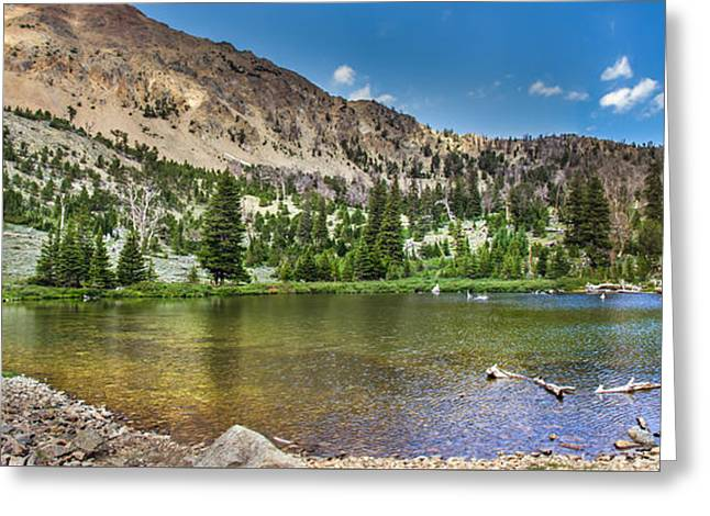 Panoramic View Of An Alpine Lake Greeting Card by Robert Bales