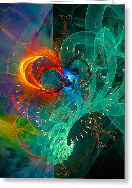 Parallel Reality - Colorful Digital Abstract Art Greeting Card