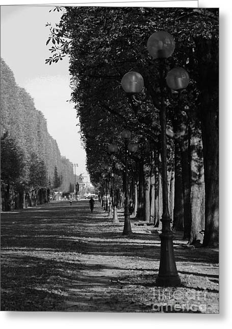 Paris - Peaceful Afternoon Bw Greeting Card by Jacqueline M Lewis