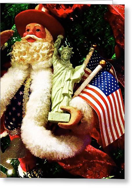 Patriotic Santa Greeting Card