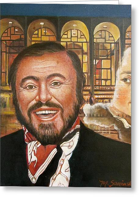 Pavarotti And The Ghost Of Lincoln Center Greeting Card