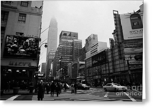 Pedestrians Crossing Crosswalk Outside Macys 7th Avenue And 34th Street Entrance New York City Greeting Card by Joe Fox