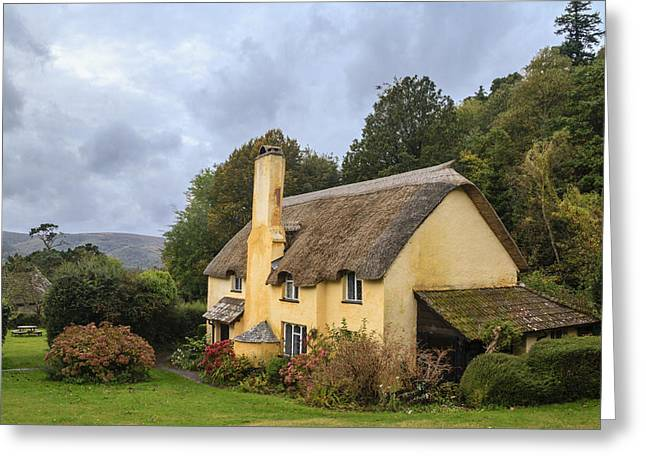 Picturesque Thatched Roof Cottage In Selworthy Greeting Card by Chris Smith