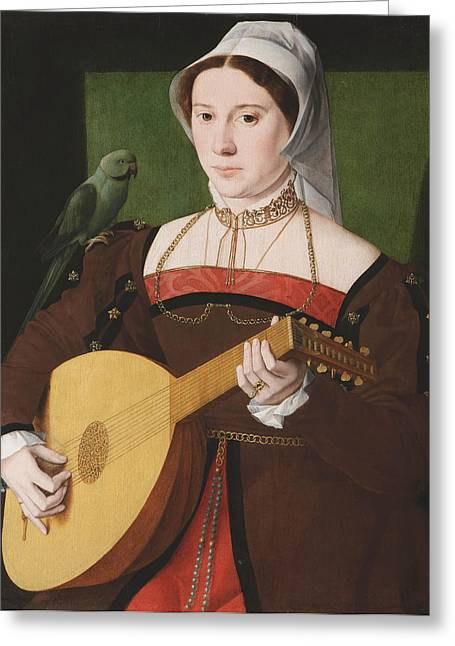 Portrait Of A Woman Playing A Lute Greeting Card by Celestial Images