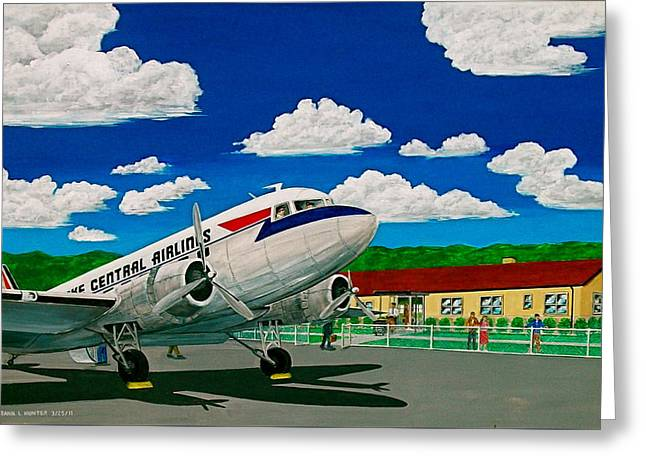 Portsmouth Ohio Airport And Lake Central Airlines Greeting Card by Frank Hunter