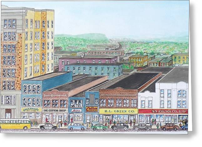 Portsmouth Ohio Dime Store Row 4th To 5th Greeting Card