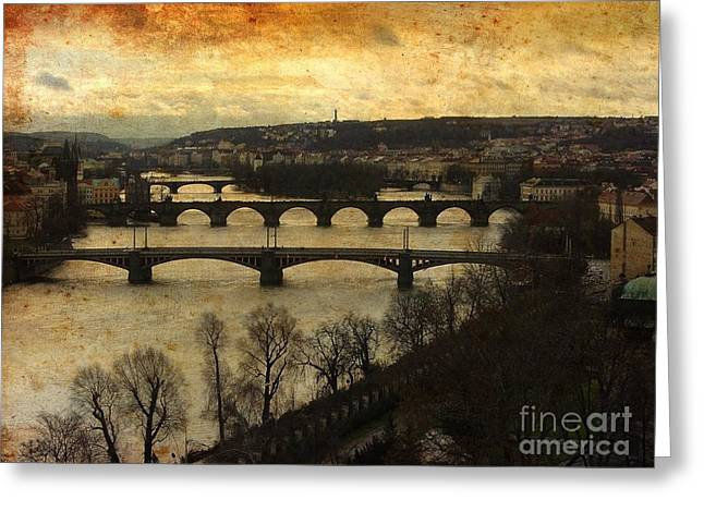 Vintage Prague Vltava River Greeting Card