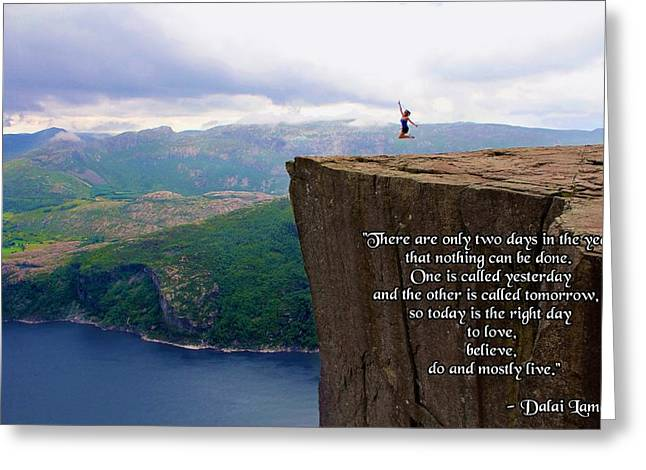 Preikestolen Pulpit Rock Norway Dalai Lama Quote  Greeting Card
