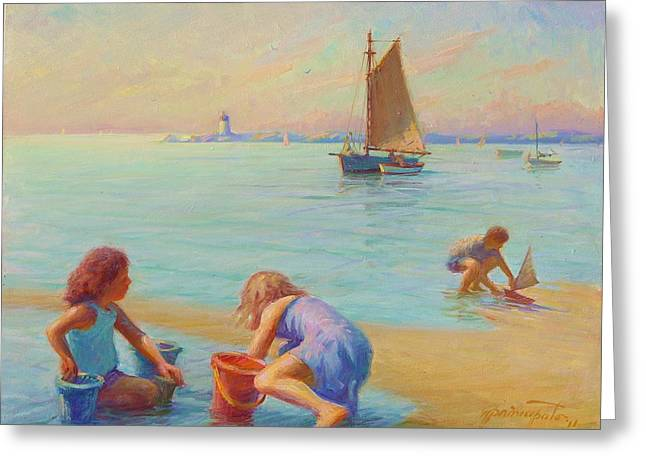 Provincetown Harbor Morning Greeting Card by Ernest Principato