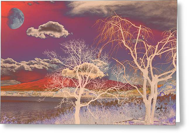 Psychedelic Landscape Greeting Card by Anthony Caruso