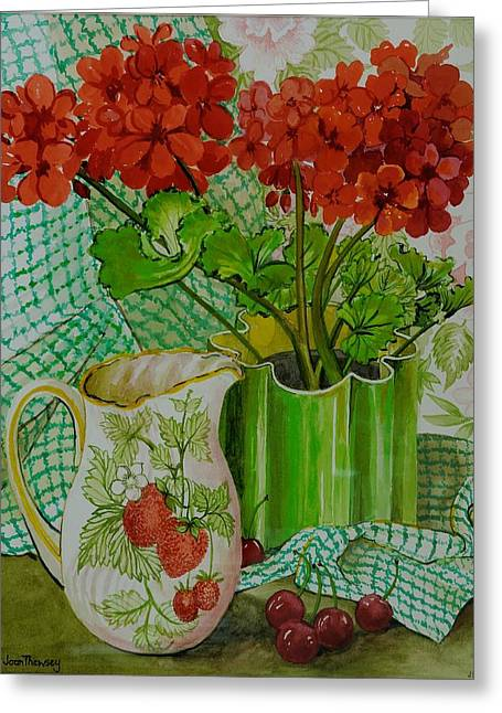 Red Geranium With The Strawberry Jug And Cherries Greeting Card by Joan Thewsey