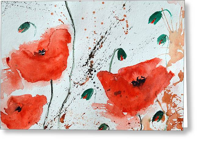 Red Poppies  Greeting Card by Ismeta Gruenwald