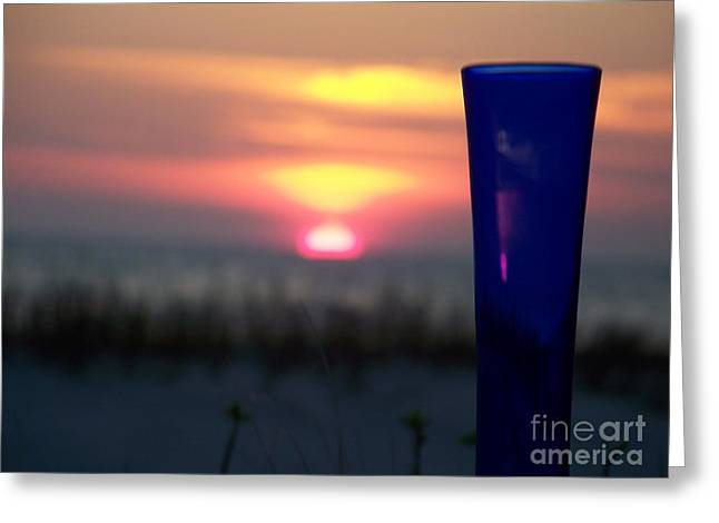 Reflections On Blue Greeting Card by Sandra Starling