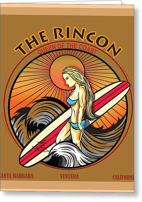 Rincon Ventura California Surfing Greeting Card by Larry Butterworth
