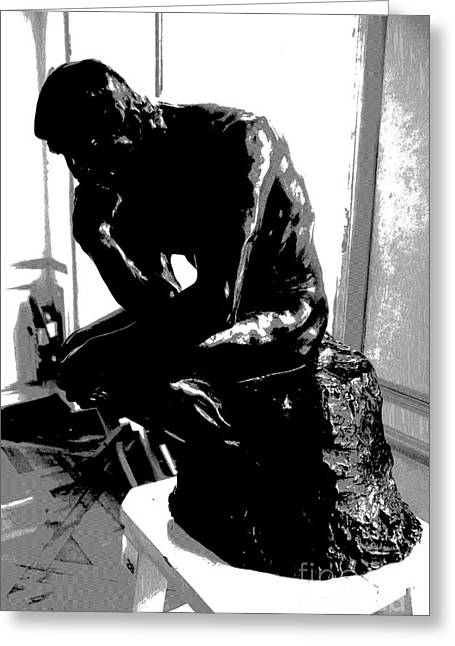 Rodin  -  The Thinker Greeting Card by Jacqueline M Lewis