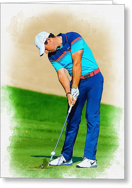 Rory Mcilroy Plays His Second Shot On The Par 4 Greeting Card