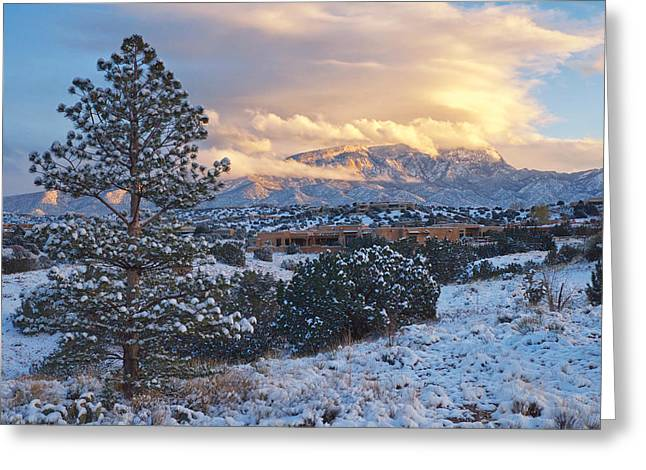 Sandia Mountains With Snow At Sunset Greeting Card by Mary Lee Dereske