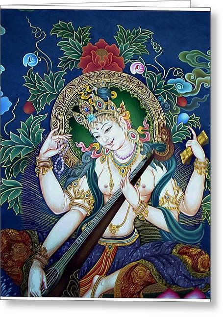 Full Of Wisdom Greeting Cards -  Saraswati 2 Greeting Card by Lanjee Chee