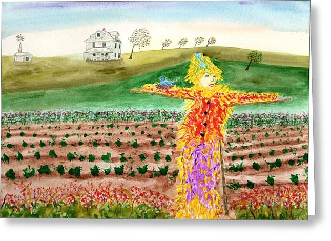 Scarecrow With Nesting Companion Greeting Card