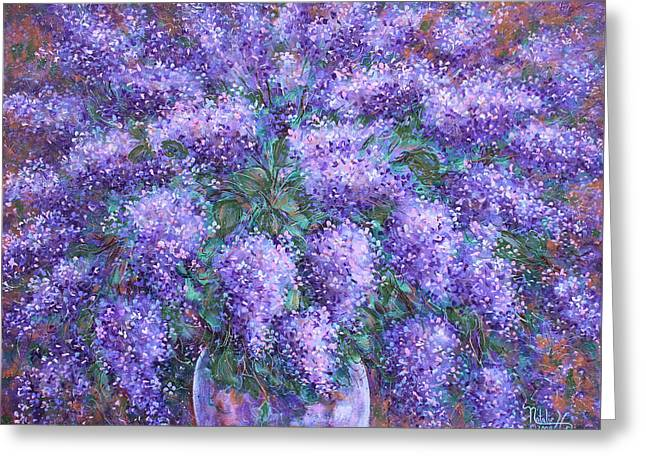 Greeting Card featuring the painting  Scented Lilacs Bouquet by Natalie Holland